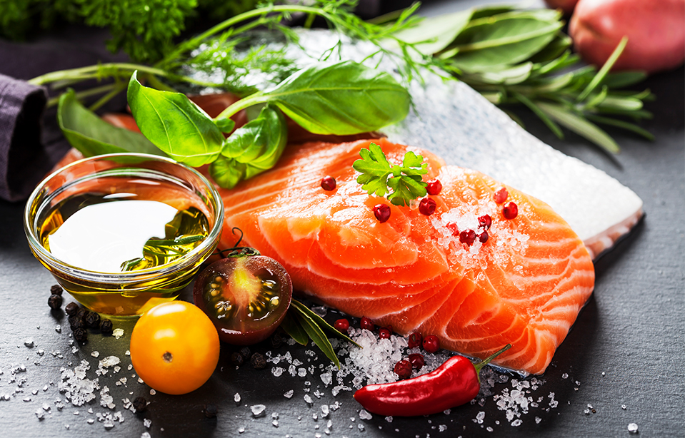 salmon and herbs with sea salt, good for nerve health