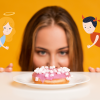 Lady debates the good and bad of eating the donut in front of her